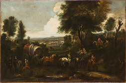 Hilly Forest Landscape with Coach