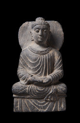 A GRAY SCHIST FIGURE OF A SEATED BUDDHA