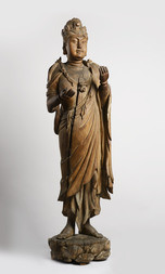 A LARGE WOOD FIGURE OF A STANDING BODHISATTVA