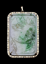AN APPLE GREEN AND LAVENDER JADEITE PENDANT