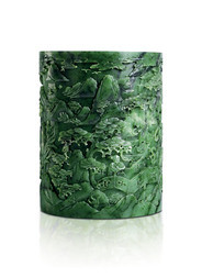 A RARE FINELY CARVED SPINACH JADEITE BRUSH POT, BITONG
