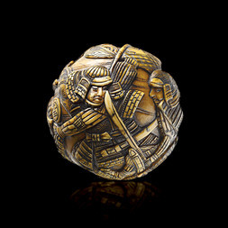 A STAINED IVORY SPHERICAL OKIMONO OF SAMURAI IN COMBAT