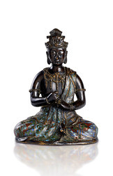 A PATINATED BRONZE AND CHAMPLEVÉ ENAMEL FIGURE OF A BODHISATTVA