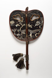 A LACQUERED WOOD UCHIWA FAN