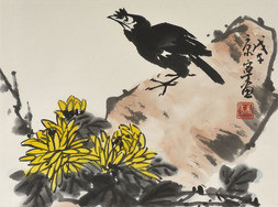 STARLING AND CHRYSANTHEMUMS