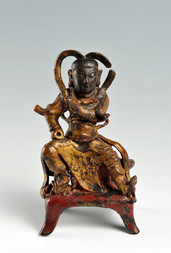 A GILT-LACQUERED BRONZE FIGURE OF A HEAVENLY GENERAL