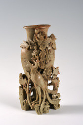 A CARVED SOAPSTONE PHOENIX AND PEONY VASE