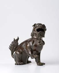 A BRONZE CENSER IN A FORM OF A KARASHISHI LION
