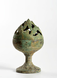 A SMALL BRONZE MOUNTAIN FORM CENSER
