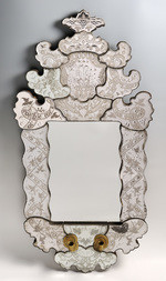 VENETIAN-STYLE MIRROR WITH CANDLEHOLDERS