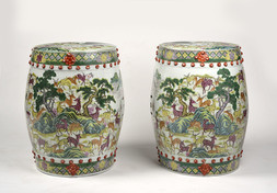 A PAIR OF CANTON FAMILLE ROSE ENAMELED BARREL FORM SEATS