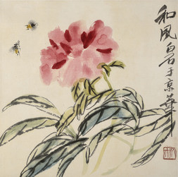 PEONY AND TWO BEES