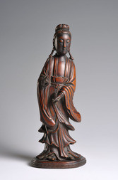 A WELL CARVED BOXWOOD FIGURE OF GUANYIN