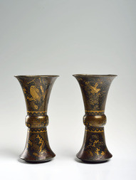 A PAIR OF GU-SHAPED LACQUERED BRASS VASES
