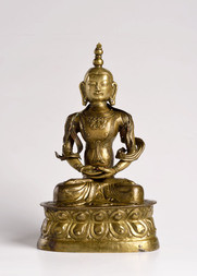 A GILT REPOUSSÉ FIGURE OF AMITAYUS