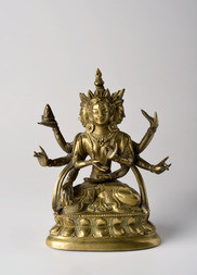 A GILT-BRONZE FIGURE OF USHNISHAVIJAYA