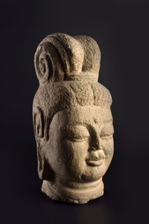 A GREY LIMESTONE HEAD OF GUANYIN