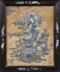 A DECORATIVE INLAID SOAPSTONE AND MOTHER-OF-PEARL PANEL OF GUANYIN