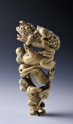 A FINE IVORY OKIMONO OF A FROG, A MONKEY AND A SKELETON