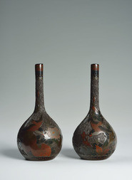 A PAIR OF CLOISONNÉED PORCELAIN SAKE BOTTLES