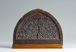 A FINELY CARVED AND PIERCED TREE OF LIFE WOOD PANEL