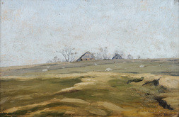 LANDSCAPE WITH COTTAGES.