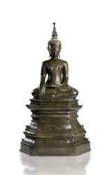 VELKÁ BRONZOVÁ FIGURA BUDDHY ŠÁKJAMUNI