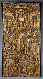A LARGE CARVED AND GILT WOOD PANEL