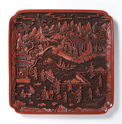 A CINNABAR LACQUER SQUARE TRAY