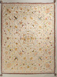 A FINE LARGE EMBROIDERED SILK BED COVER