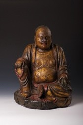 A GILT-LACQUERED WOOD FIGURE OF SEATED BUDAI