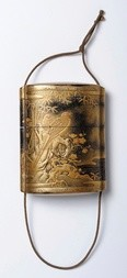 A FOUR CASE GOLD AND BLACK LACQUER INRÓ DECORATED WITH TWO PHEASANTS ON A TREE TRUNK