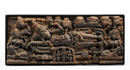 WOODEN RELIEF - KRSHNA LYING ON A BED SURROUNDED BY GOPI SHEPHERDESSES