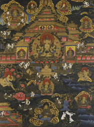 A THANGKA DEPICTING BUDDHIST PARADISE