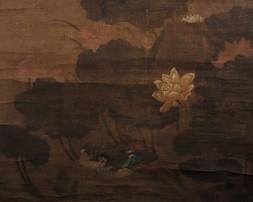 MANDARIN DUCKS SWIMMING AMONG THE LOTUS PLANTS