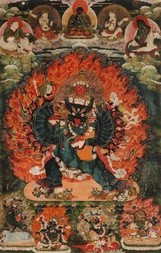 A FINE THANGKA OF VAJRABHAIRAVA IN EMBRACE WITH VIDYADHARA