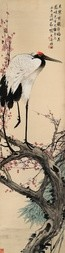 CRANE SITTING ON A BLOSSOMING PLUM TREE