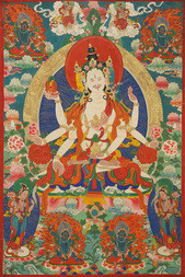 A THANGKA DEPICTING A LAMAISTIC DIVINITY