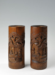 A PAIR OF CARVED BAMBOO BRUSHPOTS WITH SCHOLARS