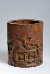 A CARVED BAMBOO BRUSHPOT WITH SCHOLARS