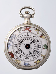 A CHINESE MARKET SILVER POCKET WATCH WITH CHINESE ZODIAC