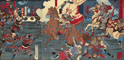 TRIPTYCH - SCENE FROM THE BATTLE OF MIKATAGAHARA