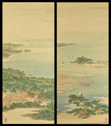 A PAIR OF PAINTINGS OF WILDING PINES IN MIHO BAY