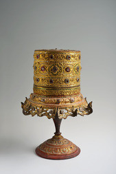 A BURMESE LACQUER AND GILT BETEL BOX