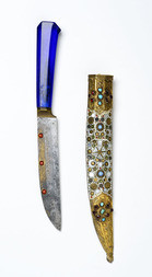 A RARE MAMLUK KNIFE WITH RICHLY DECORATED SCABBARD
