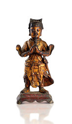 A POLYCHROME AND GILT BRONZE FIGURE OF A HEAVENLY GENERAL