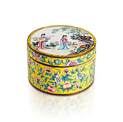 A CANTON ENAMEL BOX WITH COVER
