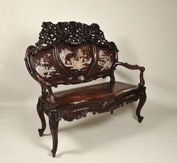 A CHINESE EXPORT MOTHER-OF-PEARL INLAID ROSEWOOD BENCH
