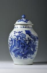 A BLUE AND WHITE LIDDED JAR