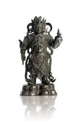 A BRONZE FIGURE OF VIRUPAKSHA, THE GUARDIAN KING OF THE WEST